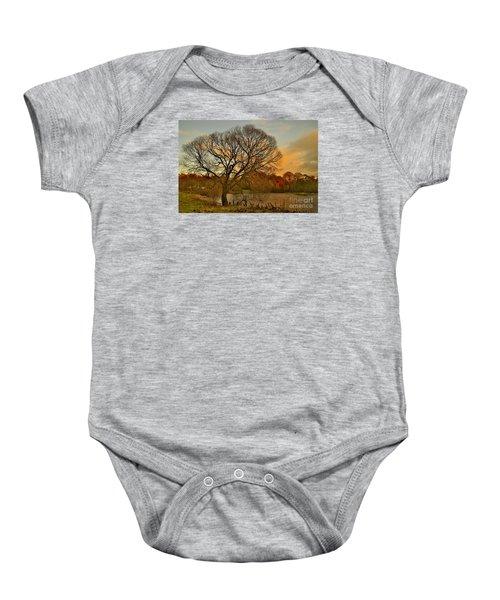 Winter Tree On The River Tweed Baby Onesie