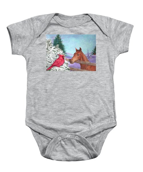 Winterscape With Horse And Cardinal Baby Onesie