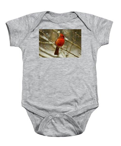 Wintry Cardinal Baby Onesie