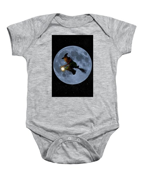Witch Flying At Full Moon. Baby Onesie