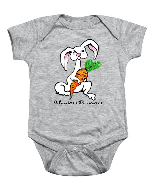 Wonky Bunny Carrot Baby Onesie by Katherine Nutt