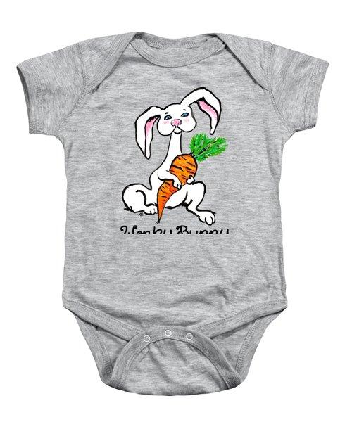 Wonky Bunny Carrot Baby Onesie by Katherine Nutt