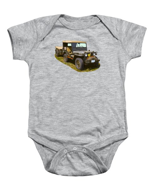 World War Two Army Jeep With Trailer  Baby Onesie