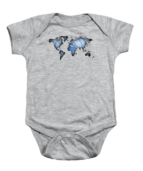 Worldmap Over Blue Circles Baby Onesie