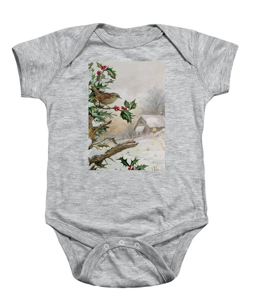 Wren In Hollybush By A Cottage Baby Onesie by Carl Donner