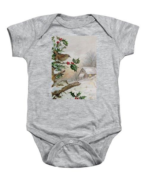 Wren In Hollybush By A Cottage Baby Onesie