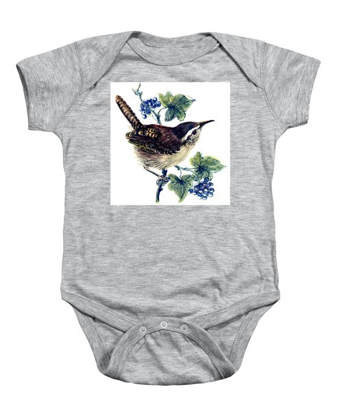 Wren In The Ivy Baby Onesie by Nell Hill
