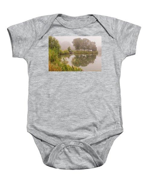 Misty Pond Bridge Reflection #5 Baby Onesie