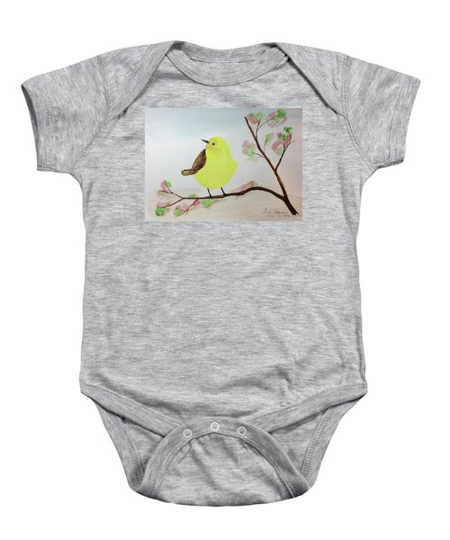 Yellow Chickadee On A Branch Baby Onesie