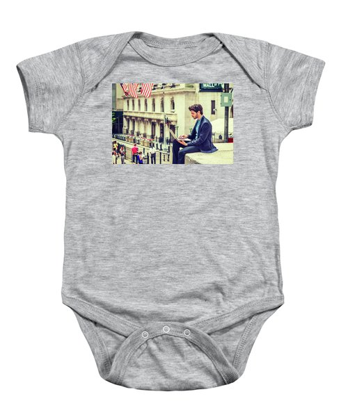 Young Businessman Working On Wall Street In New York Baby Onesie