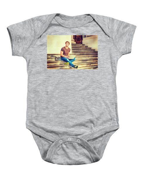 Young Man Working Outside In New York Baby Onesie