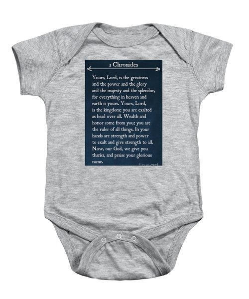 1 Chronicles 29 11-13- Inspirational Quotes Wall Art Collection Baby Onesie
