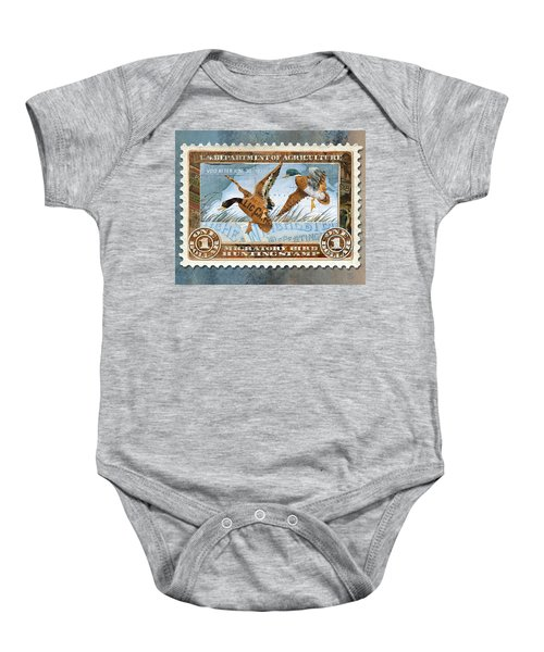 1934 Hunting Stamp Collage Baby Onesie
