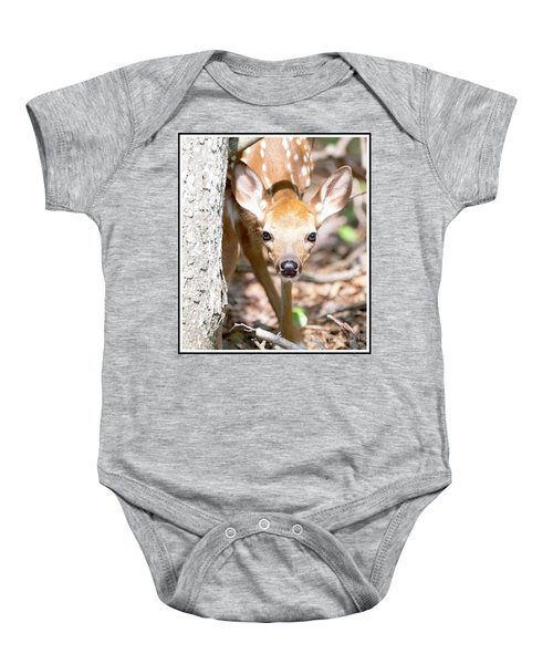 White-tailed Deer Fawn, Animal Portrait Baby Onesie
