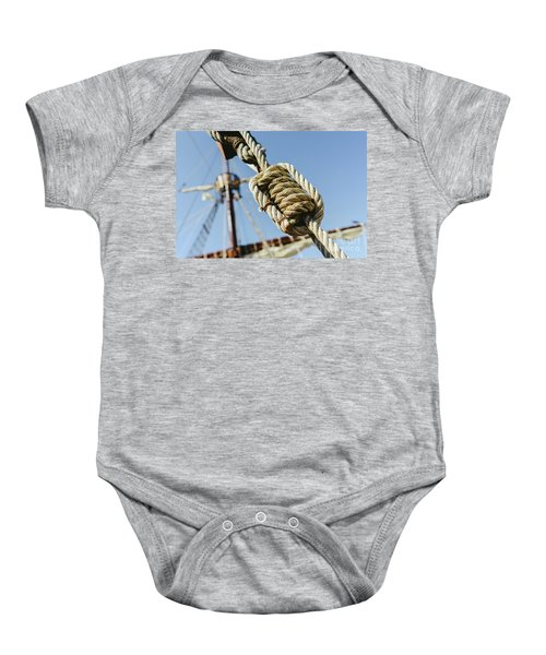 Rigging And Ropes On An Old Sailing Ship To Sail In Summer. Baby Onesie