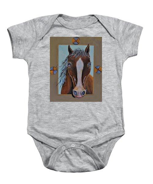 A Blue Eyed Horse Baby Onesie