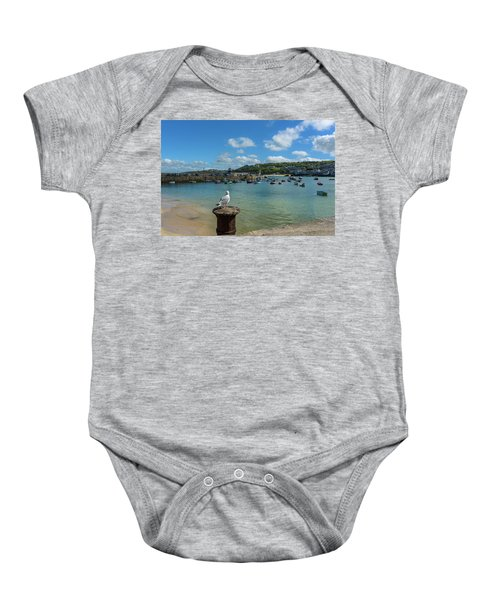 A Seagull Dreaming At The Harbour Baby Onesie