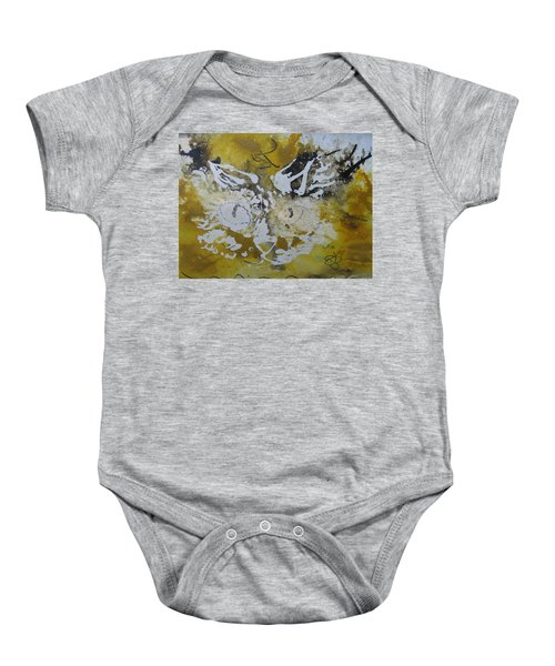 Abstract Cat Face Yellows And Browns Baby Onesie