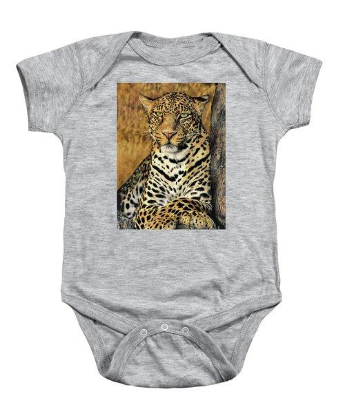 African Leopard Portrait Wildlife Rescue Baby Onesie