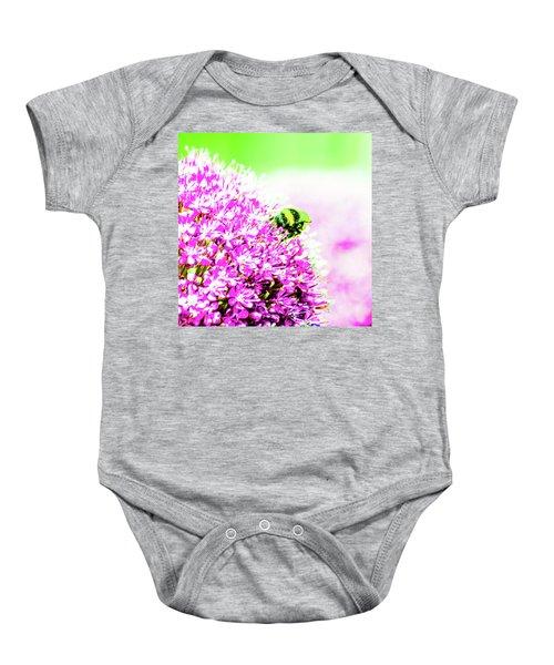 Allium With Bee 3 Baby Onesie