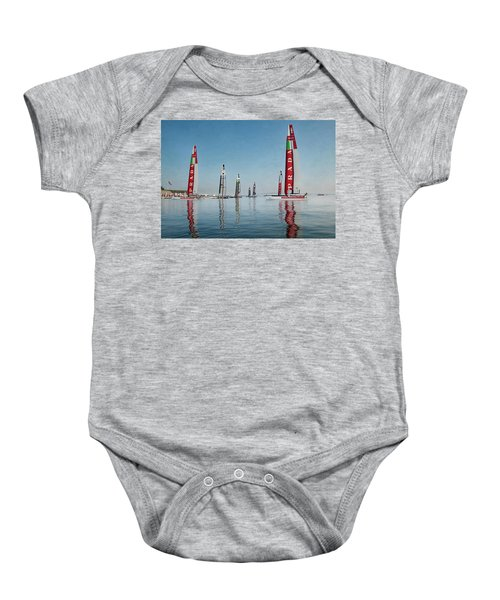 America Cup Boat Reflections Baby Onesie