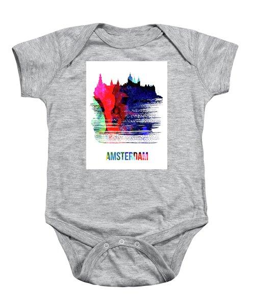 Amsterdam Skyline Brush Stroke Watercolor   Baby Onesie