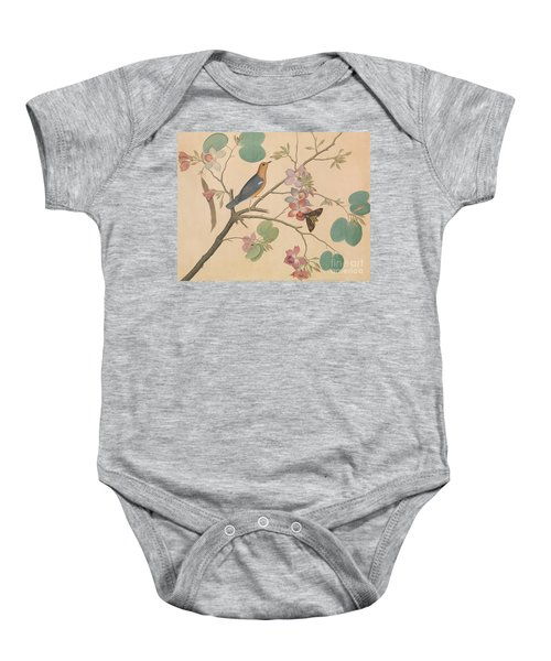 An Orange Headed Ground Thrush And A Moth On A Purple Ebony Orchid Branch, 1778 Baby Onesie