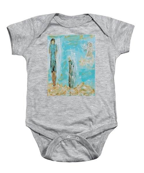 Angels Appear On Golden Clouds Baby Onesie