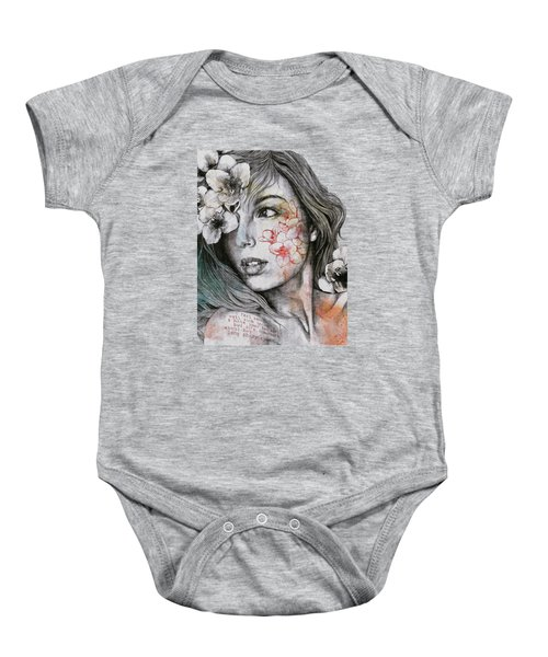 Mascara - Expressive Female Portrait With Freesias Baby Onesie
