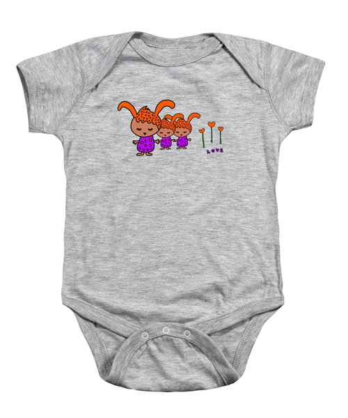 Cute Alien Family From The Love Planet Baby Onesie