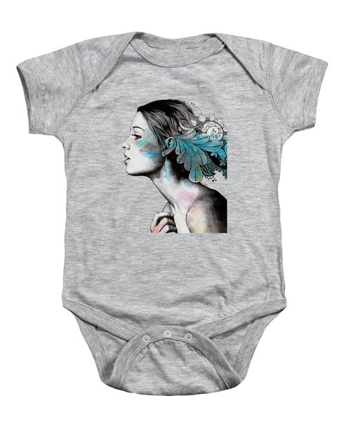 Moral Eclipse II - Portrait Of Woman With Doodles Sketch Baby Onesie