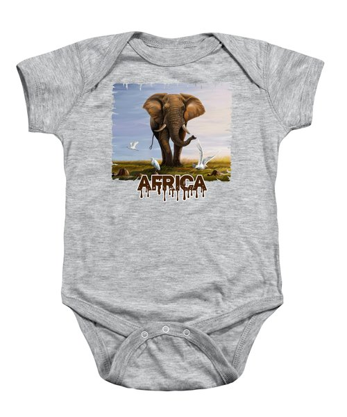 Elephant And Cattle Egrets Baby Onesie