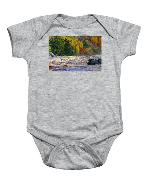 Autumn Colors And Rushing Rapids   Baby Onesie