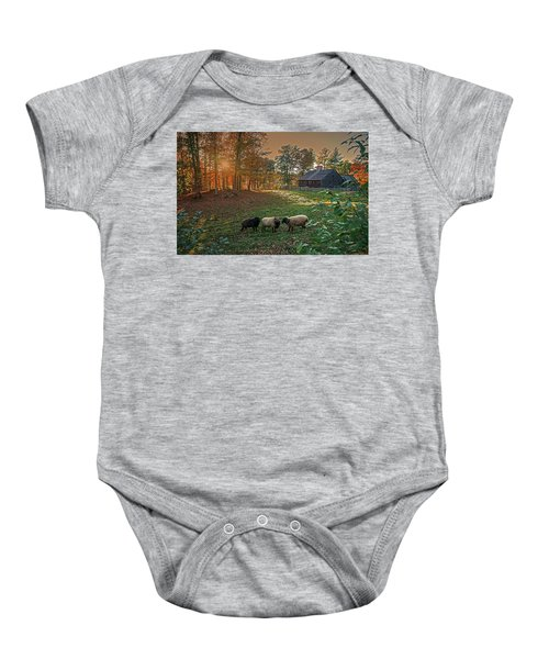 Autumn Sunset At The Old Farm Baby Onesie