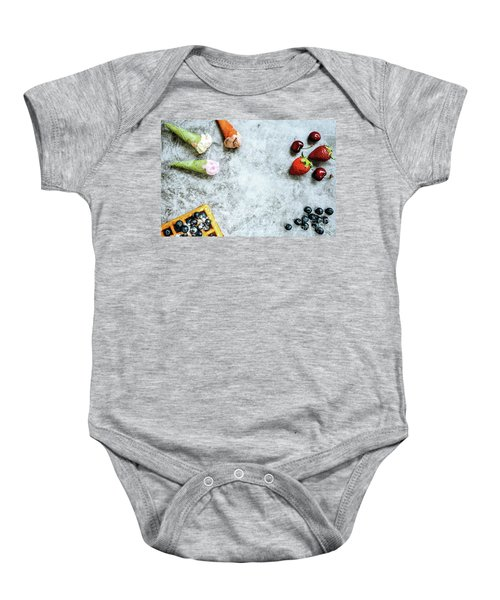 Background Of Tasty And Sweet Foods With Red Fruits And Waffles, Baby Onesie