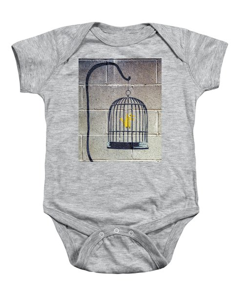 Banksy Bird Cage Detroit Baby Onesie