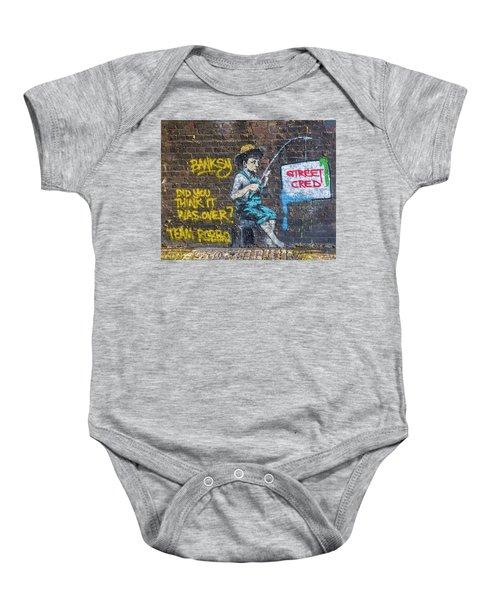 Banksy Boy Fishing Street Cred Baby Onesie