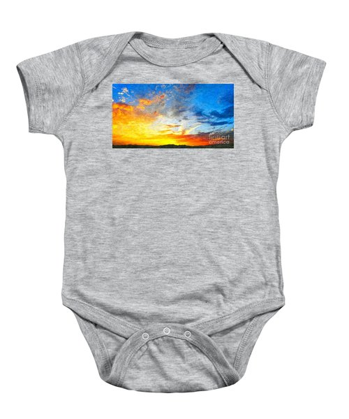 Beautiful Sunset In Landscape In Nature With Warm Sky, Digital A Baby Onesie