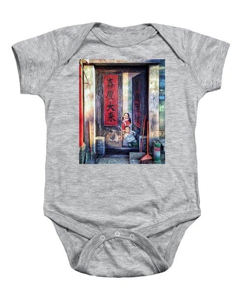 Beijing Hutong Wall Art Baby Onesie