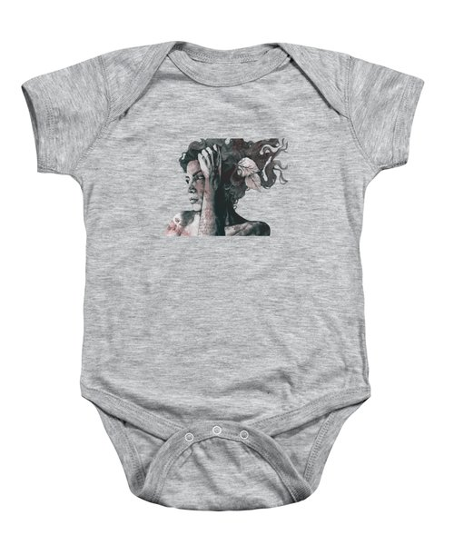 Beneath Broken Earth - Red Wine - Street Art Drawing, Woman With Leaves And Tattoos Baby Onesie