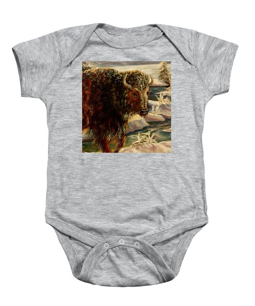 Bison In The Depths Of Winter In Yellowstone National Park Baby Onesie