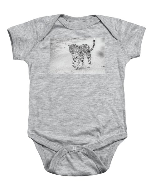 Black And White Leopard Walking On A Road Baby Onesie