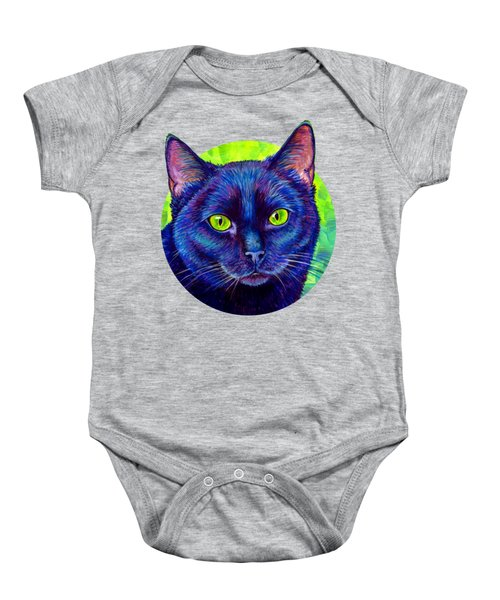 Black Cat With Chartreuse Eyes Baby Onesie