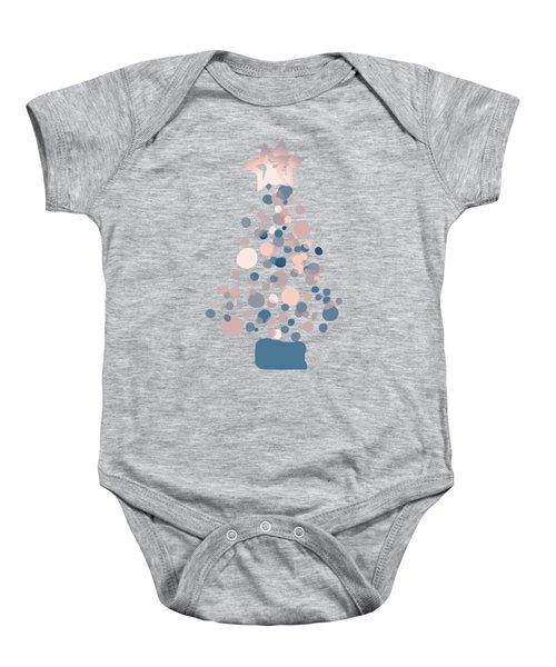 Blue Confetti Christmas Tree  Baby Onesie