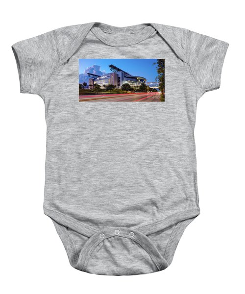 Blue Hour Photograph Of Nrg Stadium - Home Of The Houston Texans - Houston Texas Baby Onesie