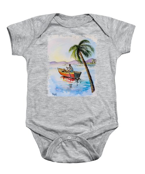 Boat And Palm Baby Onesie