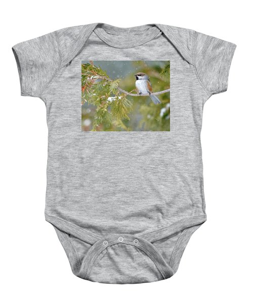 Boreal Chickadee In Winter Baby Onesie