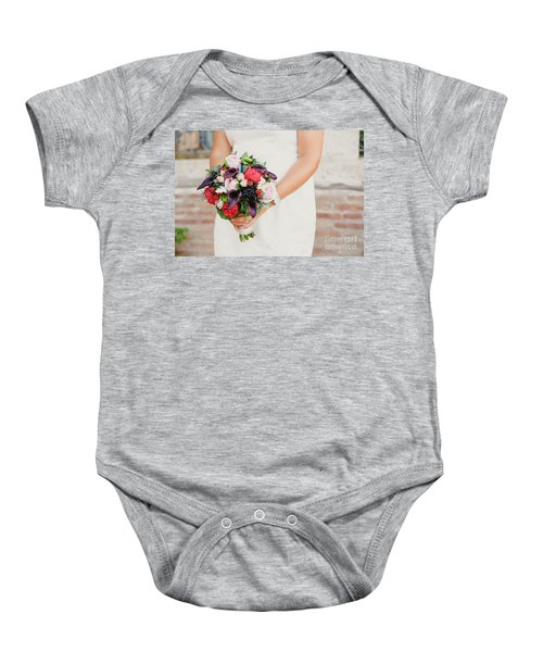 Bridal Bouquet Held By Her With Her Hands At Her Wedding Baby Onesie