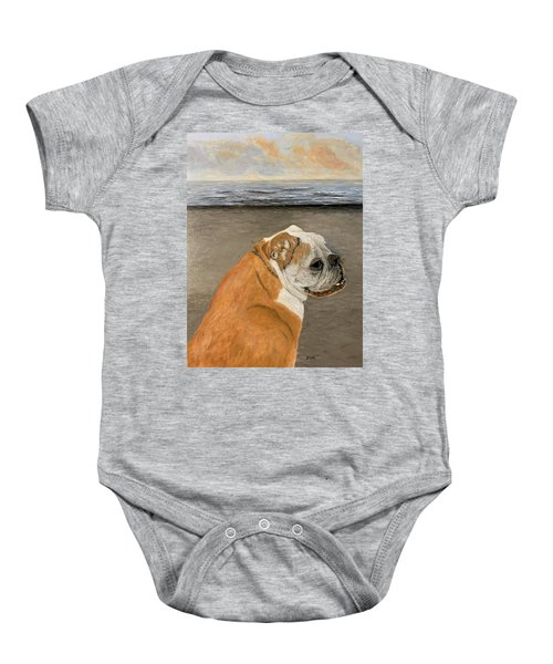 Bulldog  On The Beach Baby Onesie