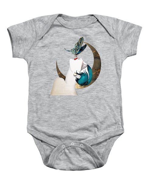 Butterfly Kiss French Art Deco Woman Remix Baby Onesie
